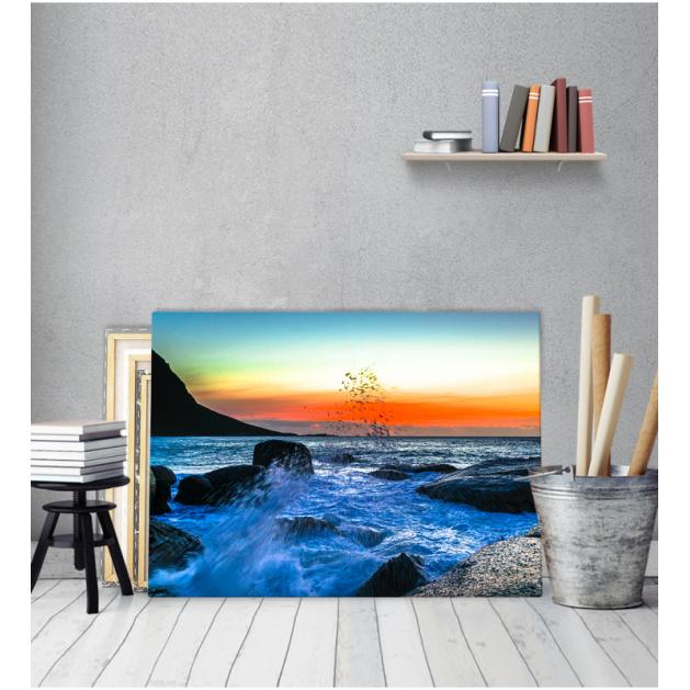 Πίνακας Καμβάς Θάλασσα Κύμα Βράχια