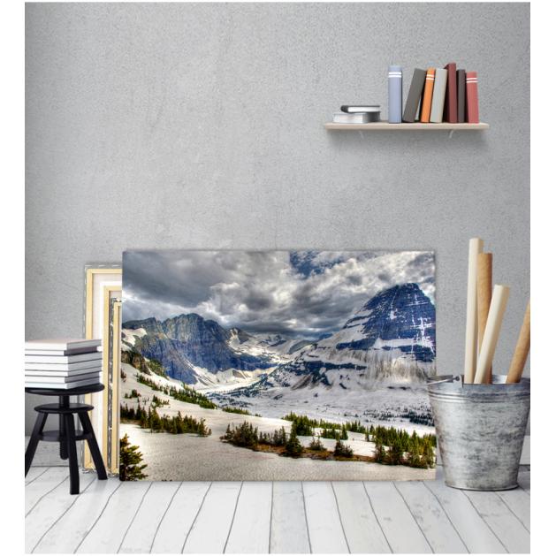 Πίνακας Καμβάς Χιονισμένη Πλαγιά - Βουνό
