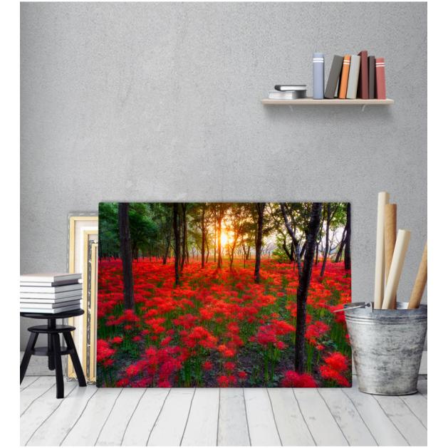 Πίνακας Καμβάς Κόκκινα Λουλούδια