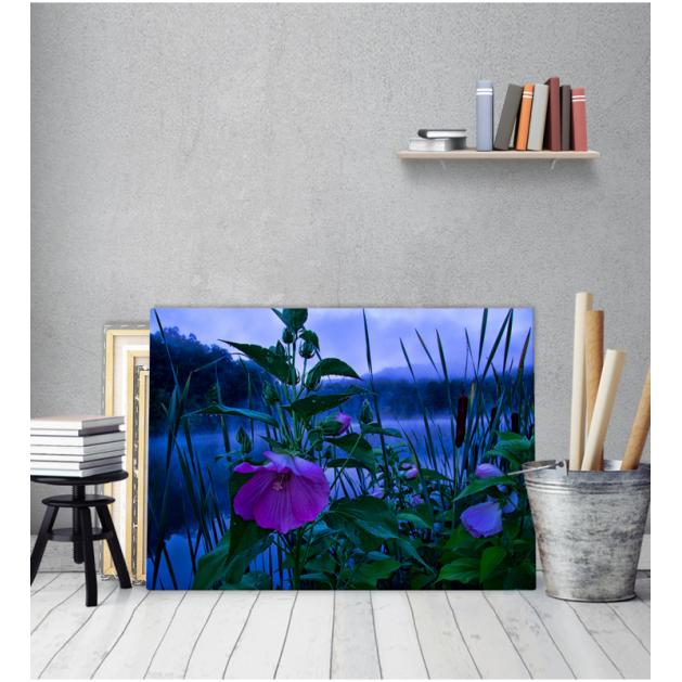 Πίνακας Καμβάς Λίμνη μωβ Λουλούδια