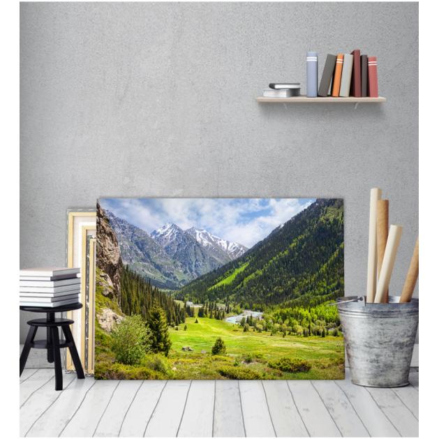 Πίνακας Καμβάς Δάσος Χιονισμένο Βουνό
