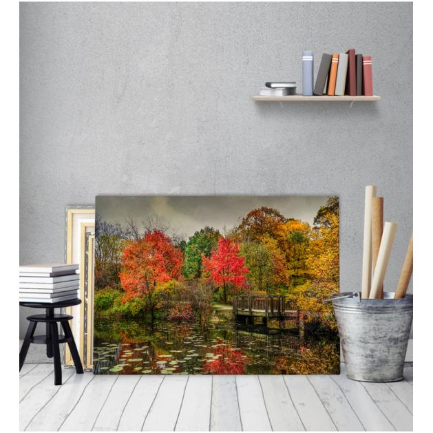 Πίνακας Καμβάς Λίμνη Φθινόπωρο
