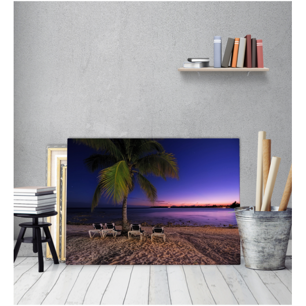 Πίνακας Καμβάς Παραλία Δύση Ηλίου