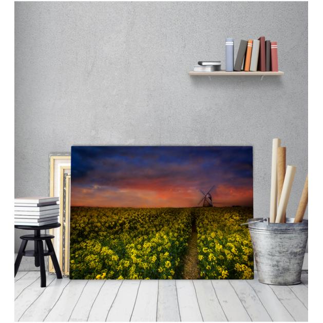 Πίνακας Καμβάς Κίτρινα Λουλούδια Ηλιοβασίλεμα