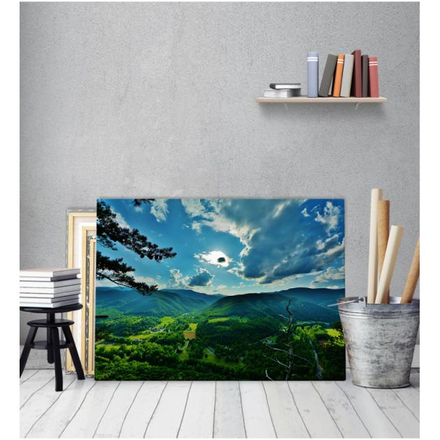 Πίνακας Καμβάς Πράσινες Πλαγιές Και Σύννεφα