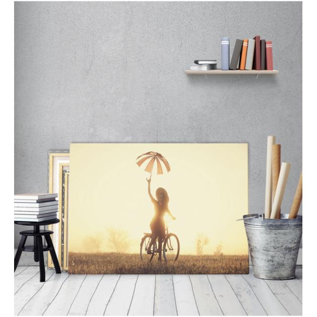 Πίνακας Καμβάς Vintage Γυναίκα Σε Ποδήλατο