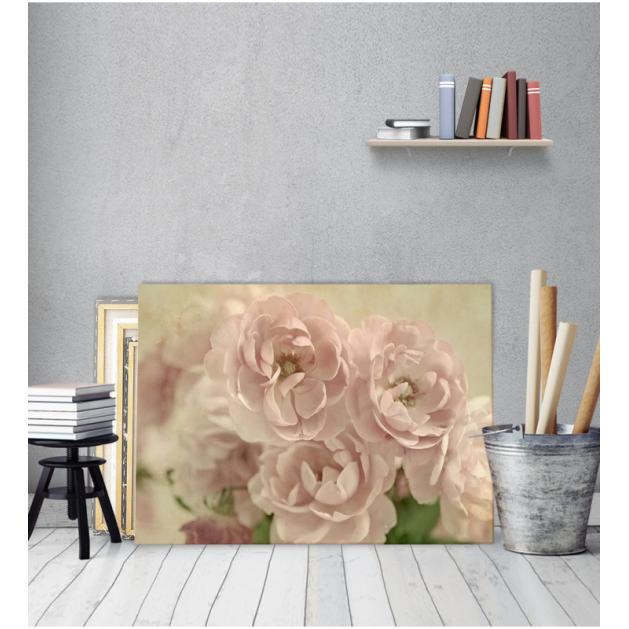 Πίνακας Καμβάς Vintage Ροζ Λουλούδια