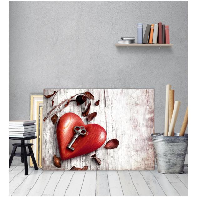 Πίνακας Καμβάς Vintage Καρδιά Με Κλειδί