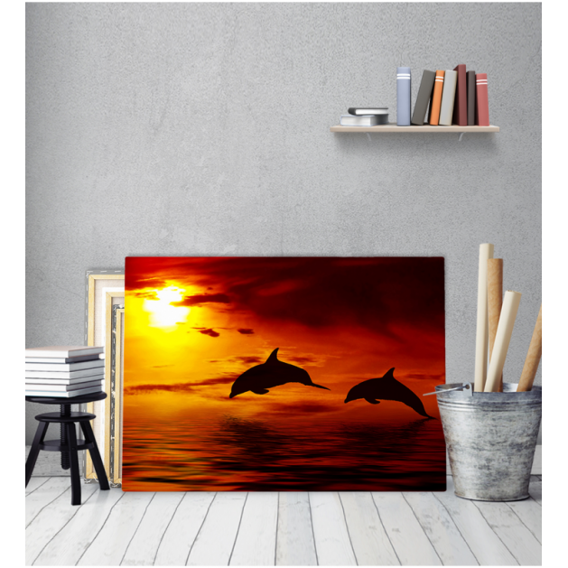 Πίνακας Καμβάς Δελφίνια  Ηλιοβασίλεμα