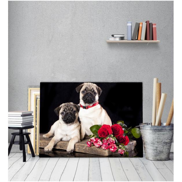 Πίνακα Καμβάς Σκυλάκια Μπουκέτο λουλούδια