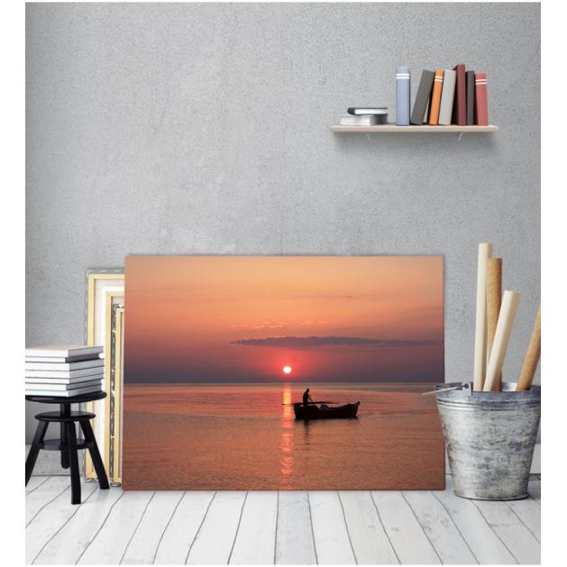 Πίνακας Καμβάς Ελλάδα Ψαράς Θάλασσα Βάρκα