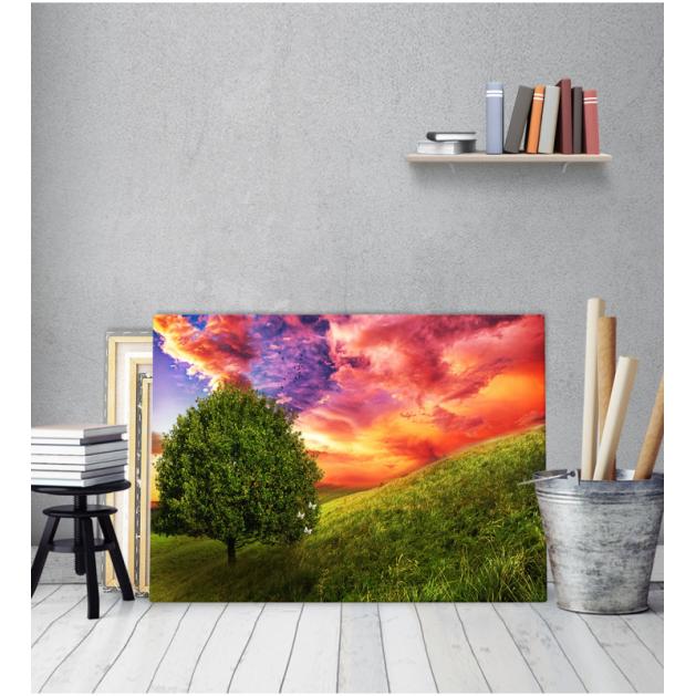 Πίνακας Καμβάς Δέντρο Πεταλούδες Κόκκινος Ουρανός