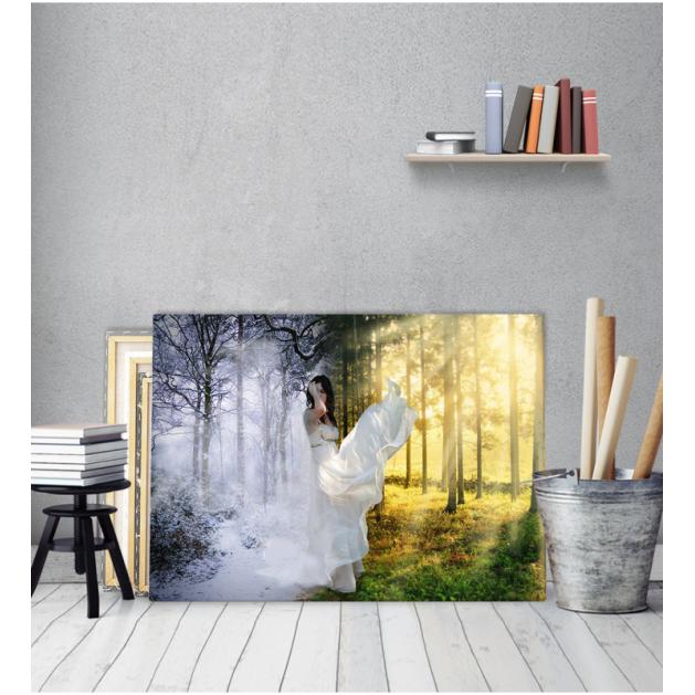 Πίνακας Καμβάς Δάσος Χιονισμένο Ήλιος Γυναίκα