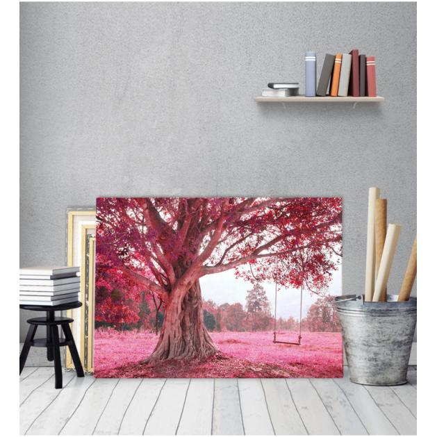 Πίνακας Καμβάς ρόζ δέντρο - Κόκκινο Τοπίο