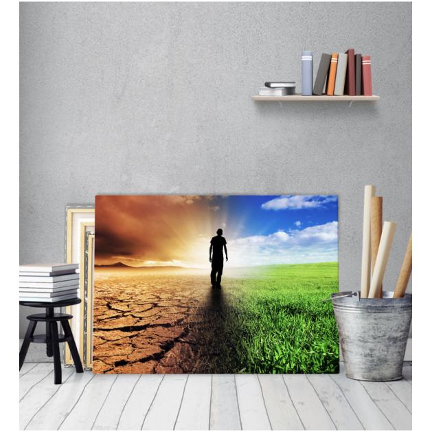 Πίνακας Καμβάς Ανθρωπος Ξηρασία Πρασινάδα κλιματική αλλαγή