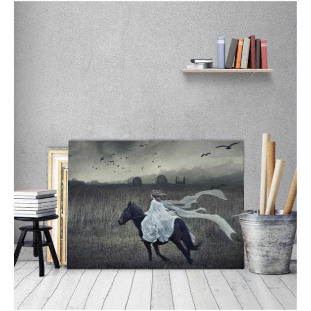 Πίνακας Καμβάς Μάυρο Αλογο Γυναίκα Vintage