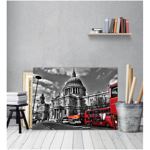 Πίνακας Καμβάς Λονδίνο  Αγιος Παύλος Μαύρο - Κόκκινο