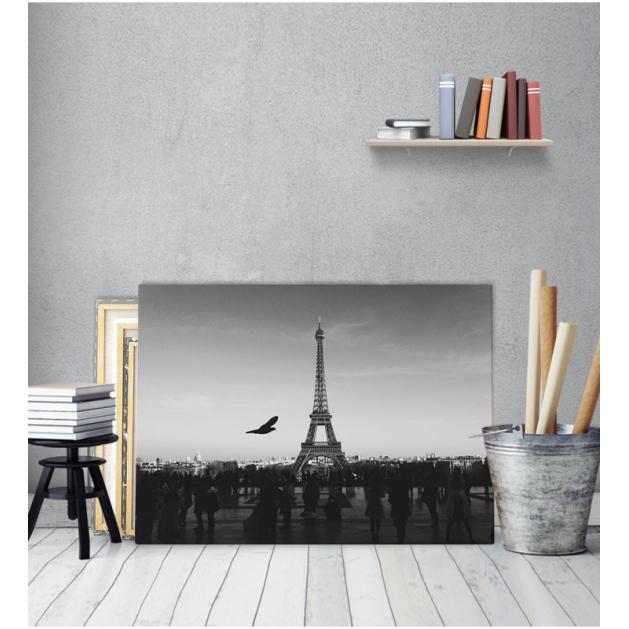 Πίνακας Καμβάς Παρίσι Ασπρό - Μαύρο