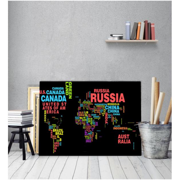 Πίνακας Καμβάς Παγκόσμιος Χάρτης