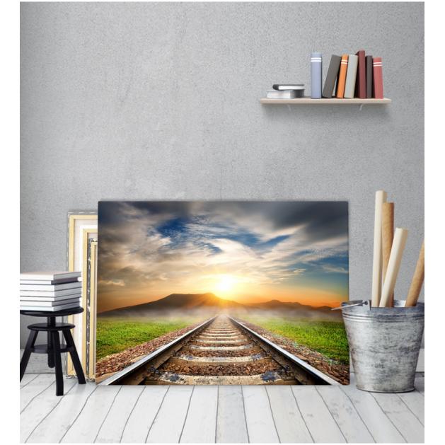 Πίνακας Καμβάς Γραμμές τρένου δύση βουνό