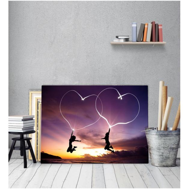 Πίνακας Καμβάς Ζευγάρι καρδιές ηλιοβασίλεμα