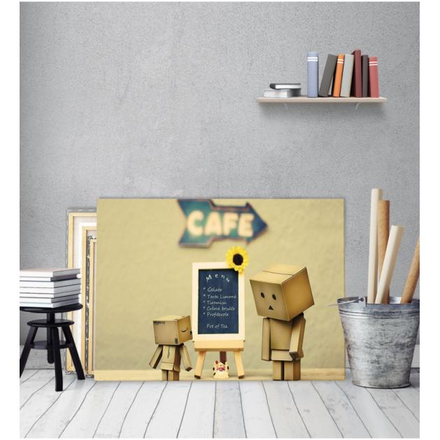 Πίνακας καμβάς χάρτινο sad robot menu
