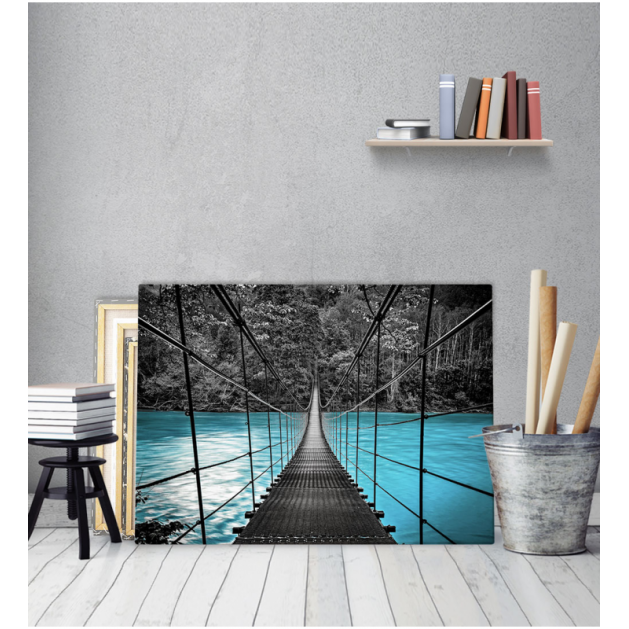 Πίνακας καμβάς Γέφυρα Λίμνη Άσπρο Μαύρο Μπλε