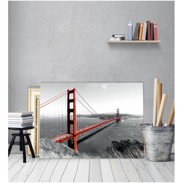 Πίνακας καμβάς Γέφυρα Θάλασσα Ασπρο Μάυρο Κόκκινο