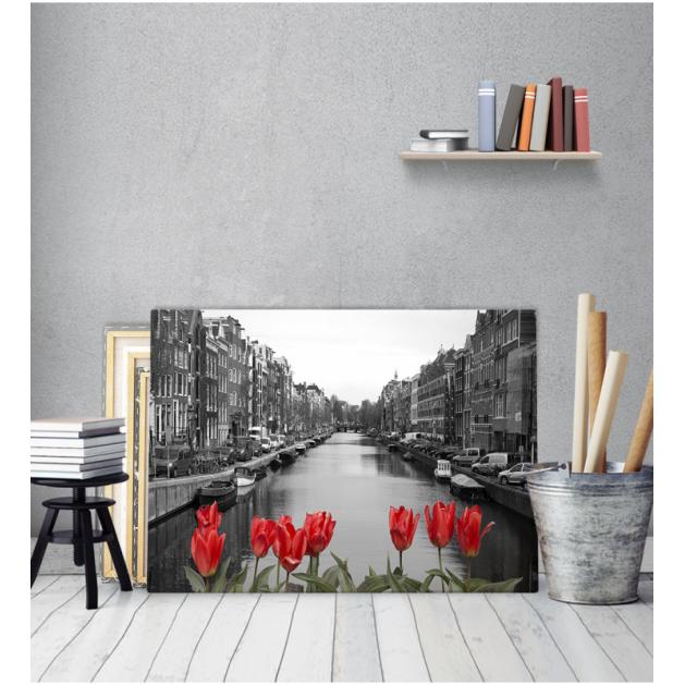 Πίνακας Καμβάς με εκτύπωση Ποτάμι Αμστερνταμ Τουλίπες
