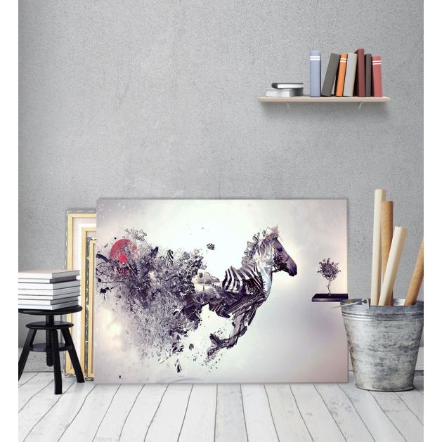 Μοντέρνος Πίνακας Καμβάς για σαλόνι Άλογο Θρυμματισμός