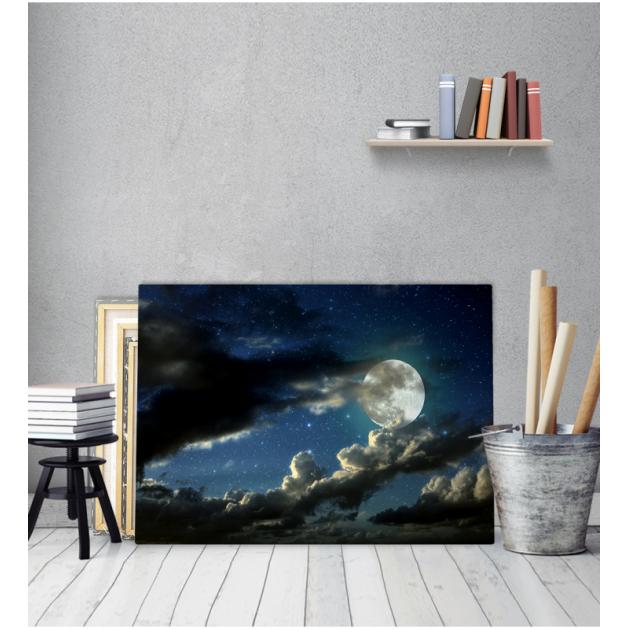 Πίνακας Καμβάς Φεγγάρι Συννεφιά