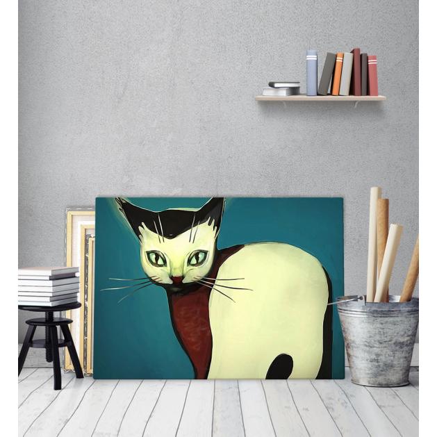 Πίνακας Καμβάς ζωγραφιά Γάτα σε Μπλε Φόντο