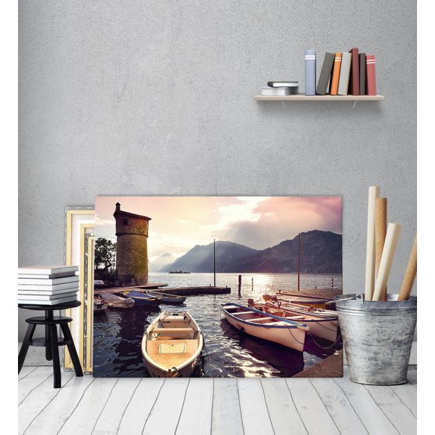 Πίνακας Καμβάς Λιμανάκι με βάρκες
