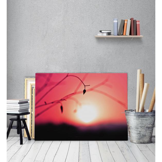 Πίνακας Καμβάς Αγρός ήλιος  κόκκινος ουρανός