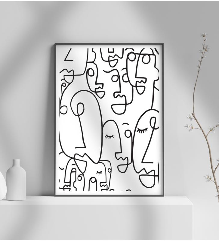 Εκτύπωση σε Αφίσα φωτογραφικό Χαρτί abstract art faces black and white