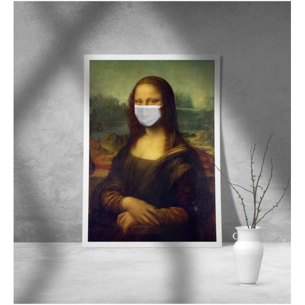 Εκτύπωση σε Αφίσα φωτογραφικό Χαρτί Leonardo Da Vinci Mona Lisa mask covid-19