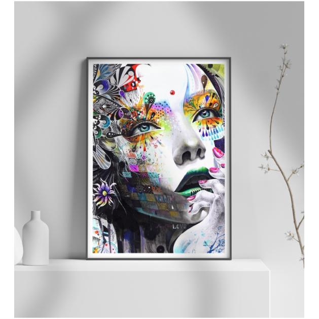 Εκτύπωση σε Αφίσα φωτογραφικό Χαρτί Πορτραίτο πολύχρωμο γυναίκα