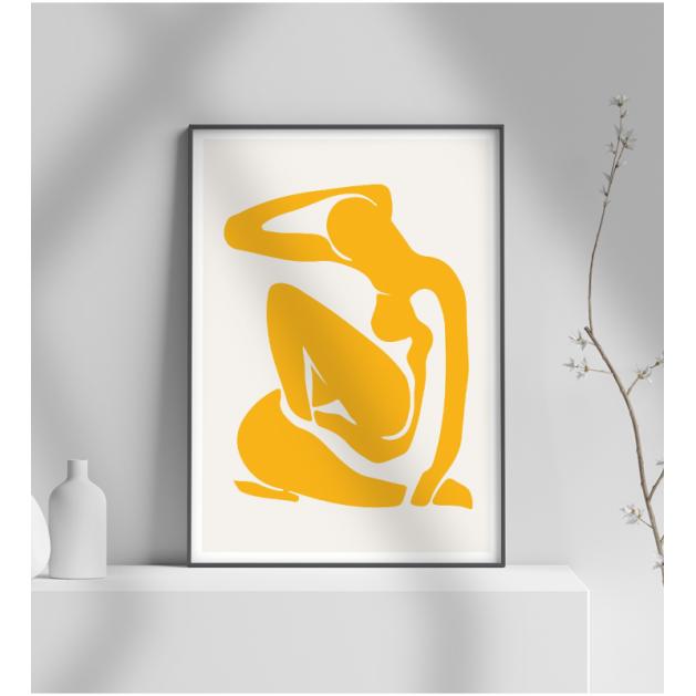 Εκτύπωση σε Αφίσα φωτογραφικό Χαρτί κίτρινο Γραμμικό σχέδιο γυναίκα