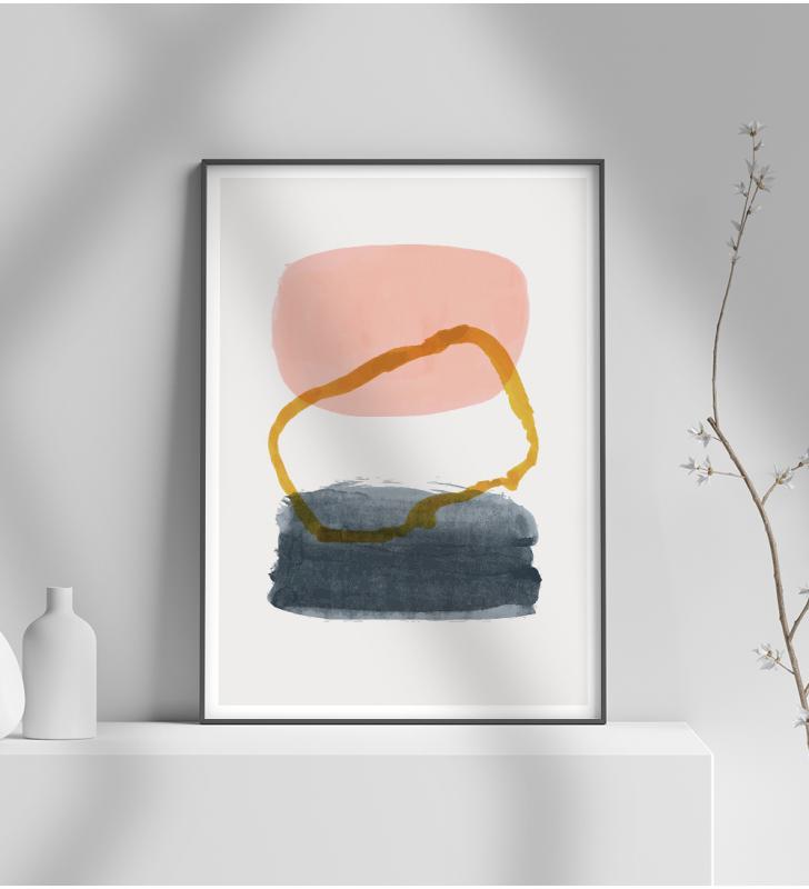Εκτύπωση σε Αφίσα φωτογραφικό Χαρτί Μοντέρνο σχέδιο ζωγραφικής σε 3 αποχρώσεις