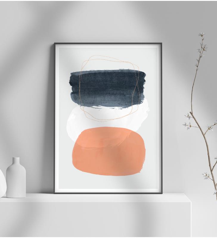 Εκτύπωση σε Αφίσα φωτογραφικό Χαρτί Μοντέρνο σχέδιο ζωγραφικής σε 3 αποχρώσεις μαύρο - πορτοκαλί - γκρι
