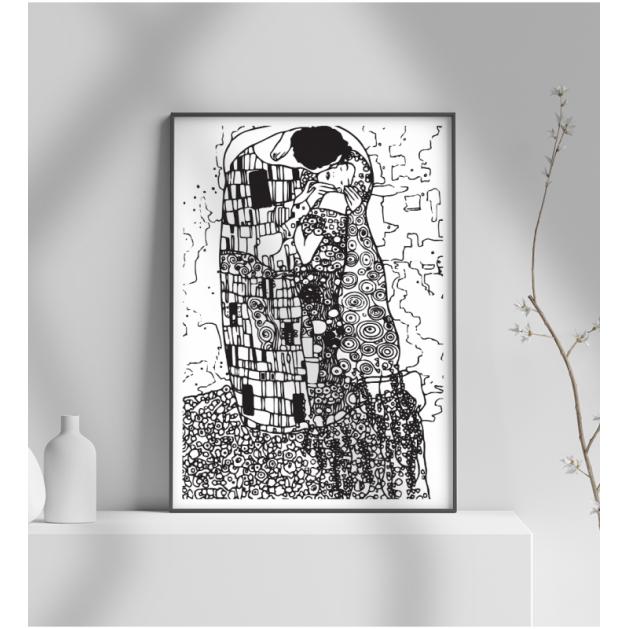 Εκτύπωση σε Αφίσα φωτογραφικό Χαρτί Το Φιλί (Γκούσταφ Κλιμτ) gustav klimt γραμμικό