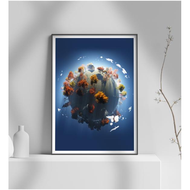 Εκτύπωση σε Αφίσα φωτογραφικό Χαρτί Πλανήτης Δέντρα Σπίτι