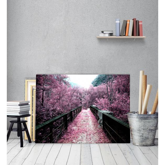Πίνακας Καμβάς Ροζ Δέντρα Γέφυρα