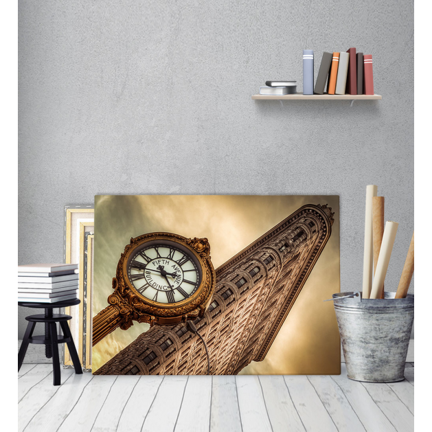 Πίνακας Καμβάς vintage ρολόι- Brown Watch New York City Manhattan