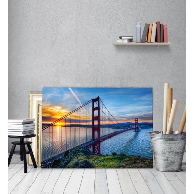 Πίνακας Καμβάς Sunset Blue Θάλασσα γέφυρα