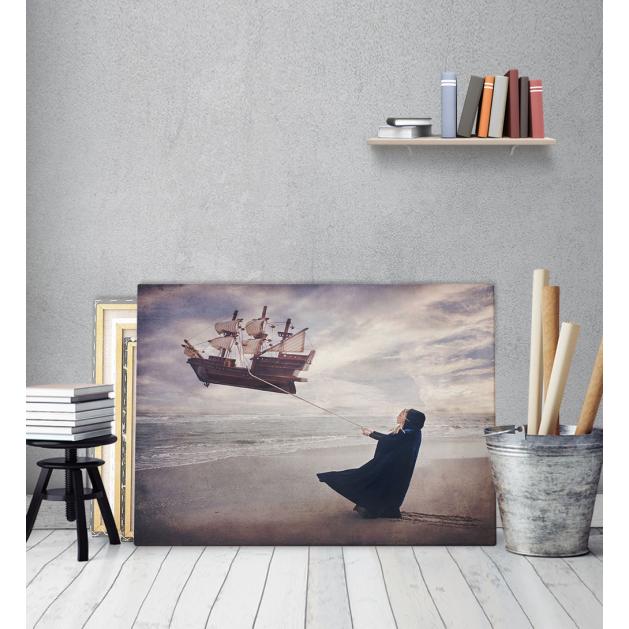 Πίνακας Καμβάς Κορίτσι Καράβι Θάλασσα