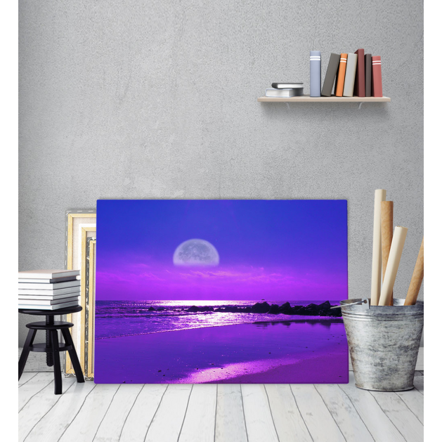 Πίνακας Καμβάς Φεγγάρι Θάλασσα Μωβ