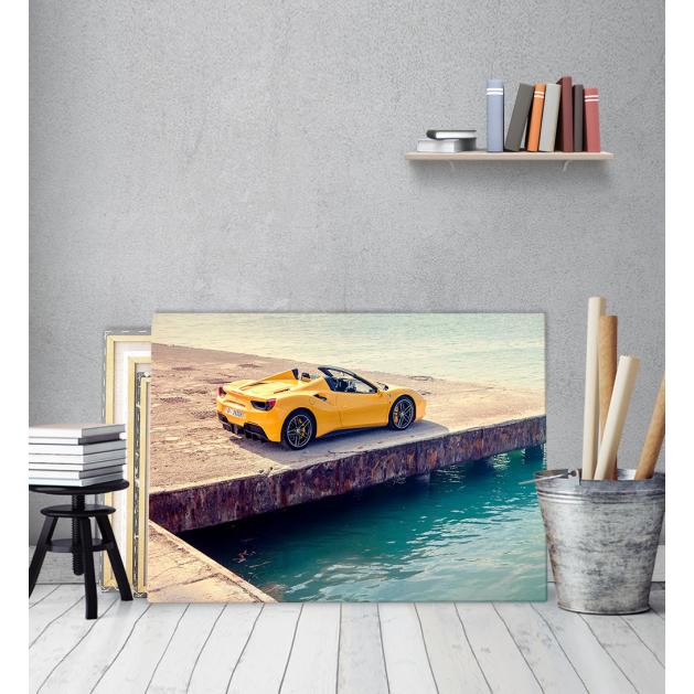 Πίνακας Καμβάς κίτρινο γρήγορο αυτοκίνητο Yellow Fast Car ferrari