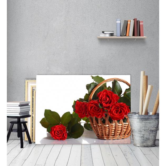Πίνακας Καμβάς Kαλάθι Κόκκινα Τριαντάφυλλα
