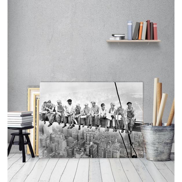 Πίνακας Καμβάς Vintage Εργαζόμενοι του Empire State γευματίζουν Black & White
